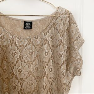 3 for $30 Bobeau Metallic Lace Tunic Blouse Sz XL